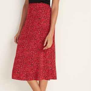 Old Navy Red Midi Slip Skirt